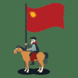 porta-estandarte do partido Colorado cavaleiro