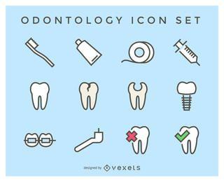 Conjunto de iconos de la odontología plana