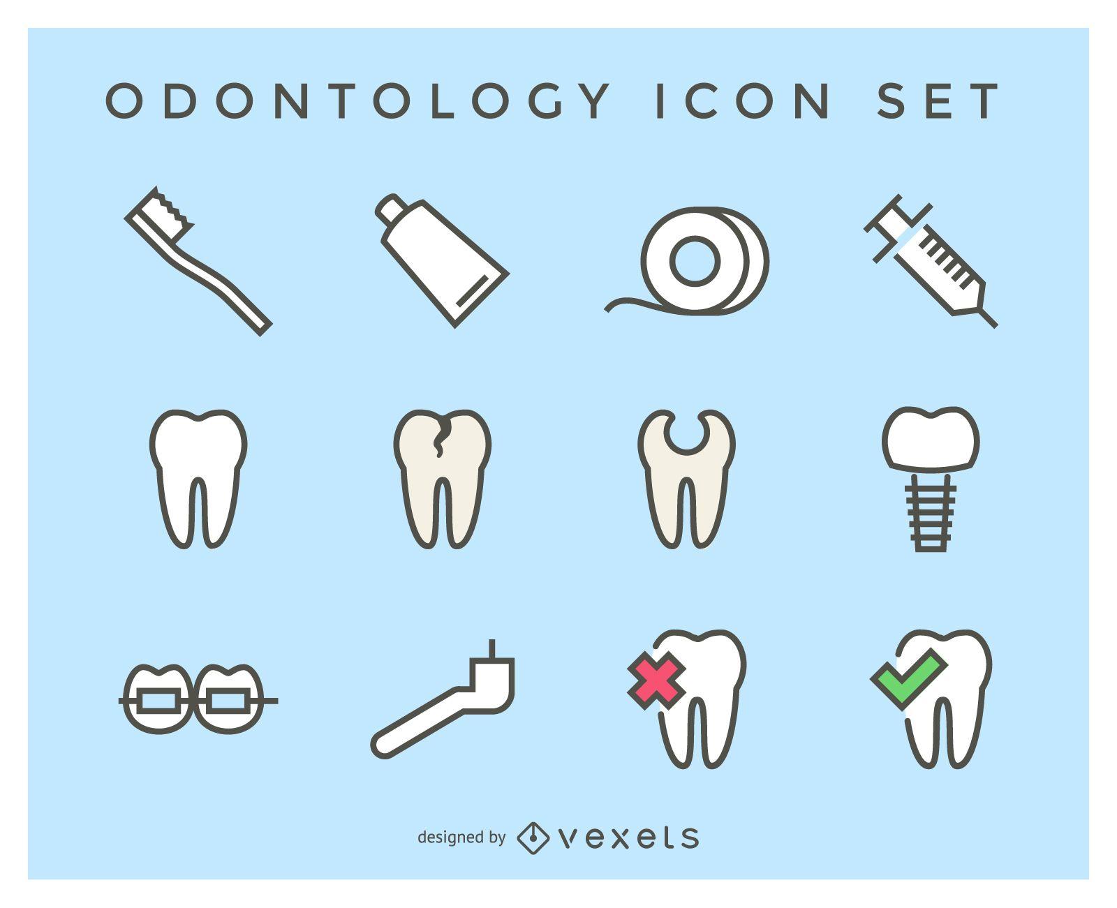 Conjunto de iconos de odontología plana