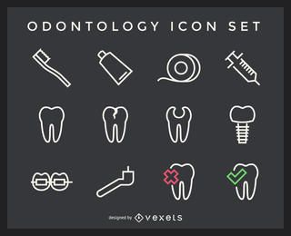 Odontology stroke icons pack