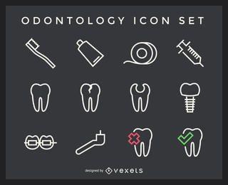 Pacote de ícones de traçado de odontologia