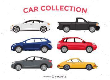 Paquete de ilustración de coche plano