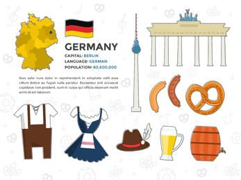 Deutschland-Elemente-Illustrationssatz