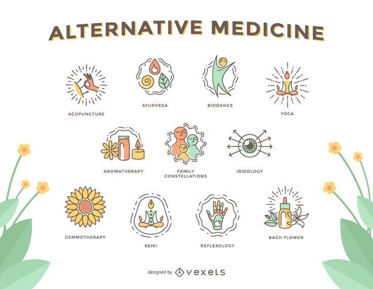 Alternativmedizin-Icon-Set
