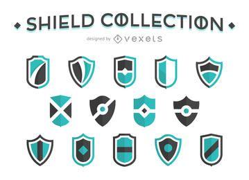 Colección de escudo plana
