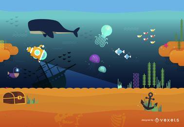 Bajo el agua paisaje del mar