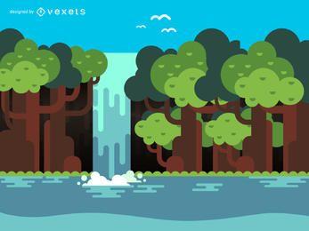 Ilustración de cascada plana y árboles