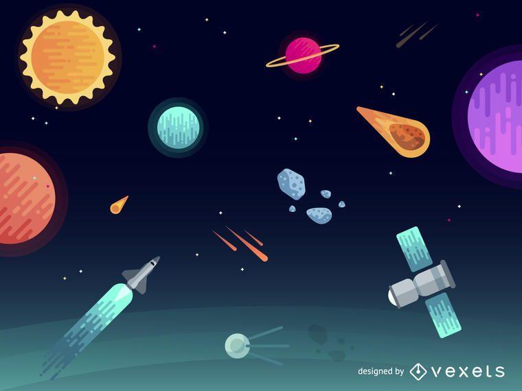 Paisaje del espacio exterior con cohetes.
