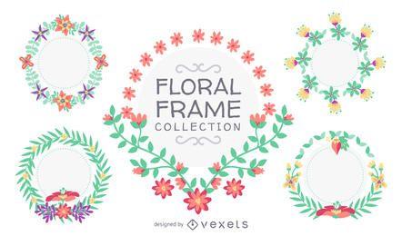 Colección de cuadros florales dibujados a mano.