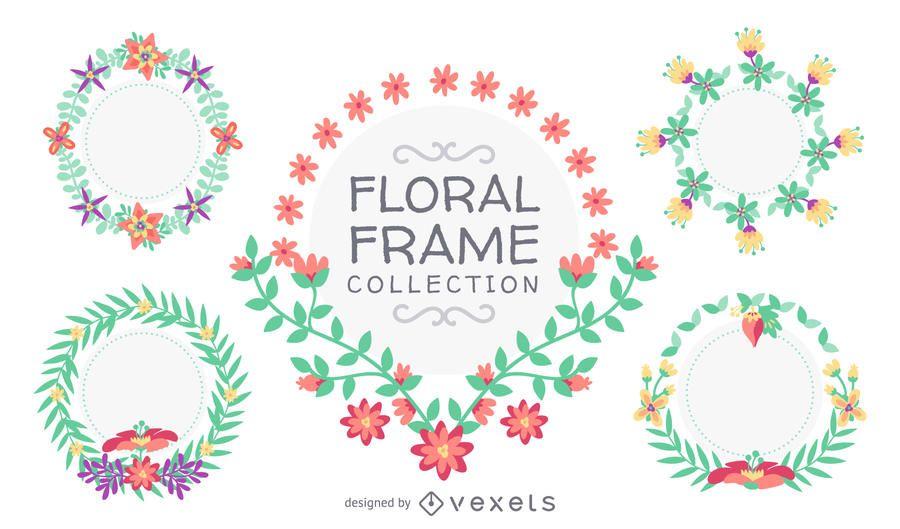 Mão desenhada coleção quadro floral