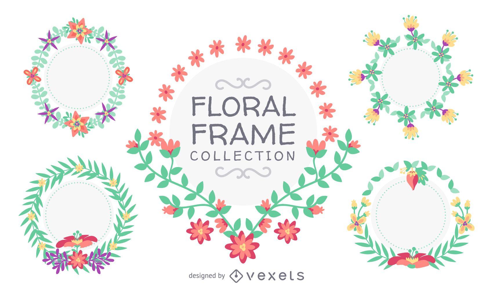 Dibujado a mano colección de marco floral - Descargar vector