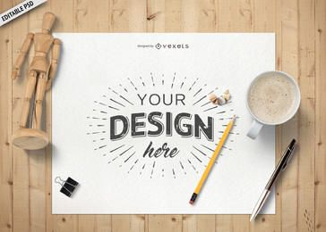 Desk layout paper PSD mockup