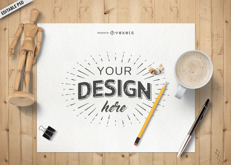 Desk layout paper PSD mockup