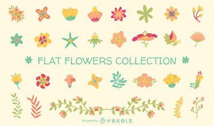 Colección de ilustraciones de flores planas.