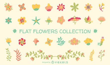 Collection of flat flower illustrations