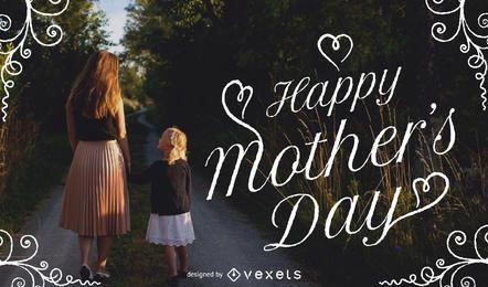 Imagem do dia das mães com tipografia e quadro