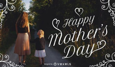 Imagem do dia das mães com tipografia e moldura