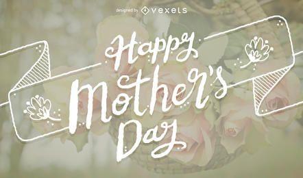Cartão de tipografia feliz dia das mães