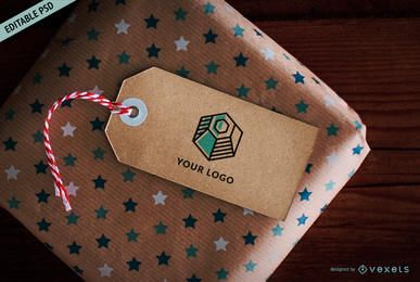 Cardboard gift tag PSD mockup