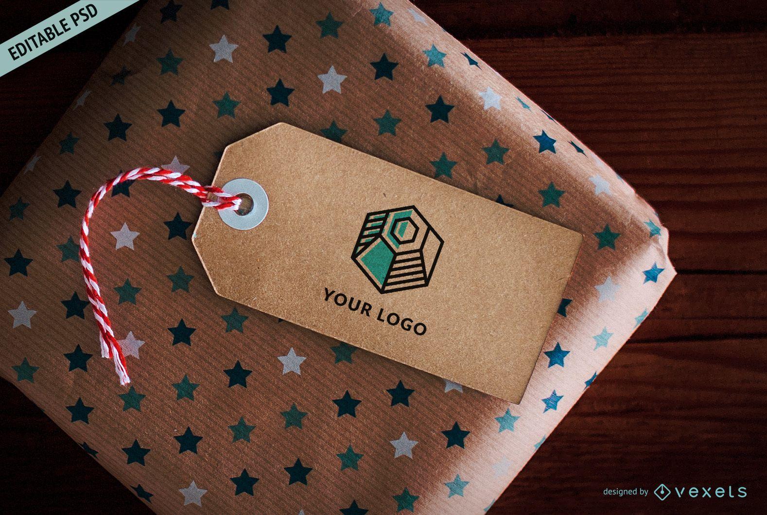 Maqueta PSD de etiqueta de regalo de cartón