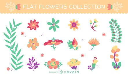Conjunto de ilustraciones de flores en tonos pastel.