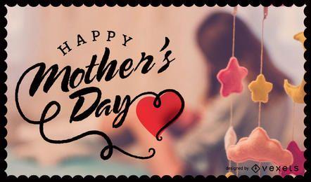 Imagem do dia das mães com distintivo e letras