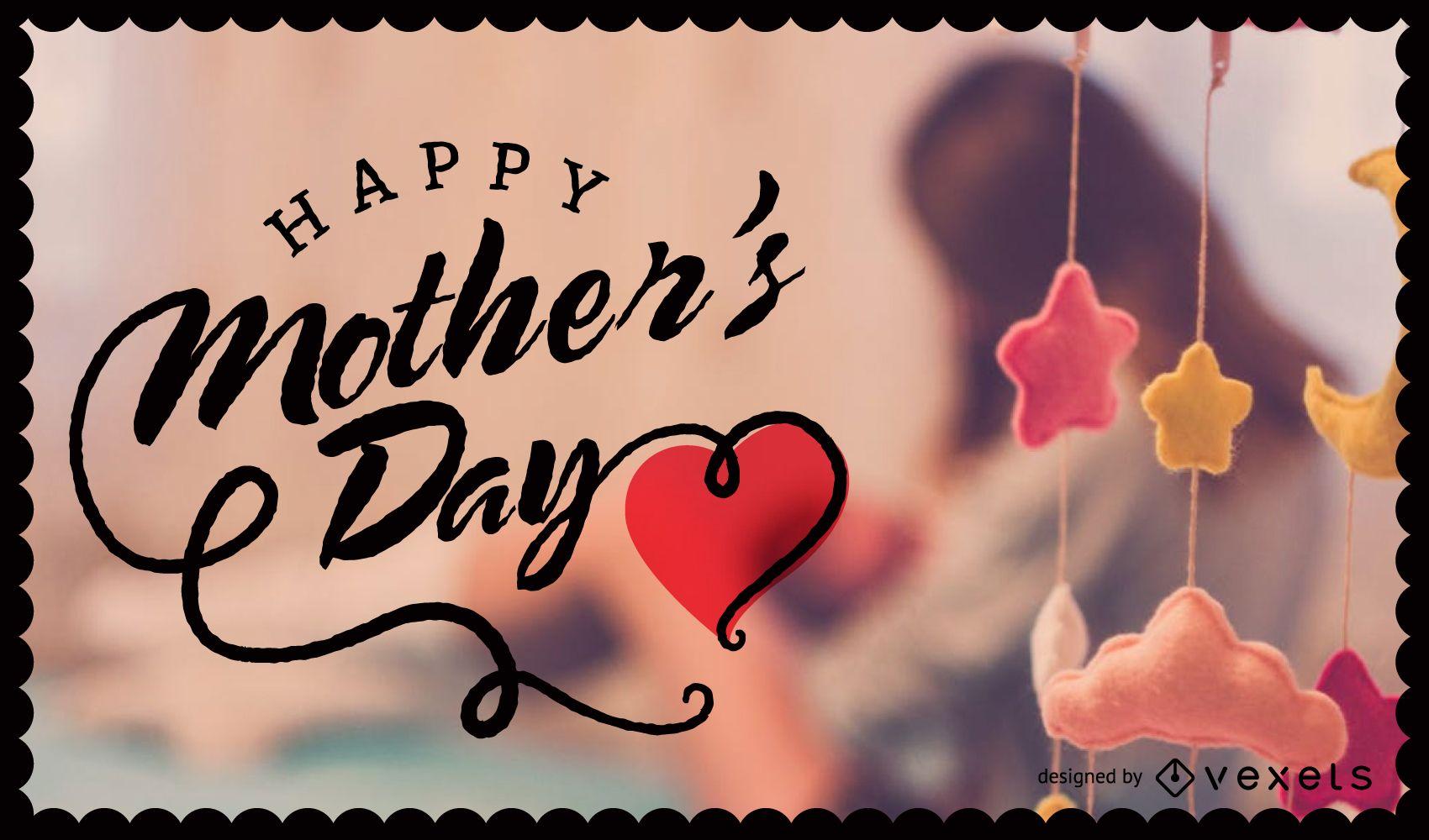 Imagen del día de la madre con insignia y letras.