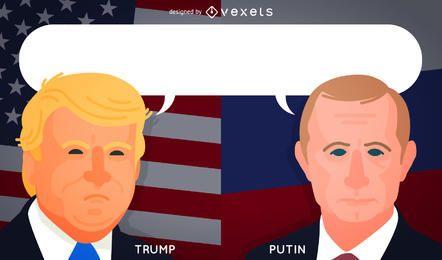 Desenhos animados de Trump e Putin para artigos