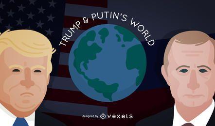 Trump und Putin auf der Welt