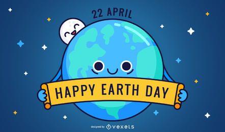Friednly feliz Día de la Tierra de dibujos animados