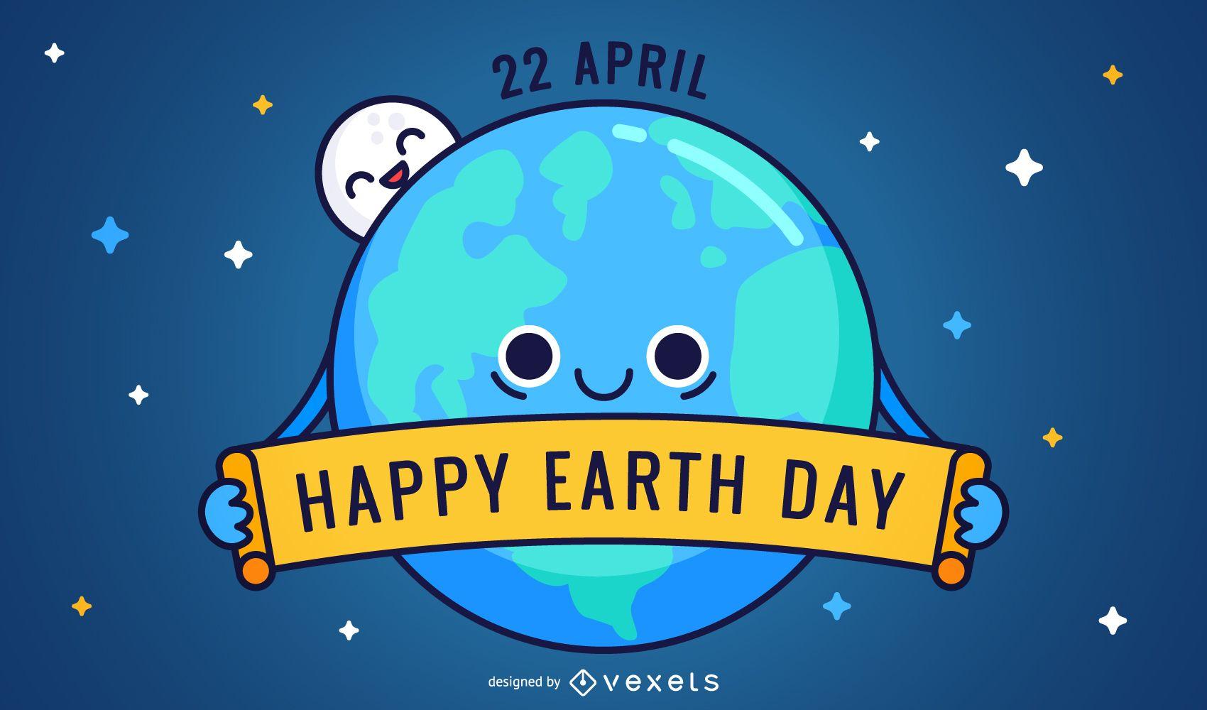 Dibujos animados de Friednly Happy Earth Day