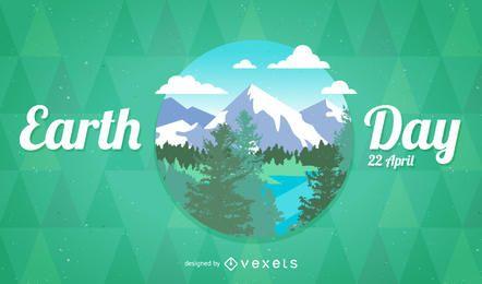 Placa del Día de la Tierra con montañas.