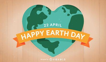 Flache Erde-Tagesillustration mit Herz-förmiger Erde