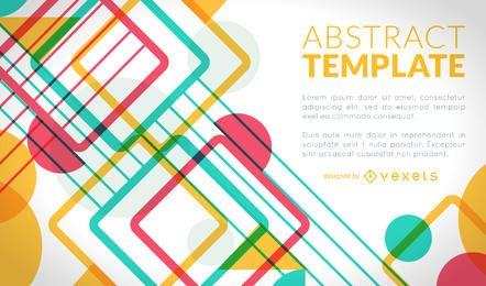 Diseño de cartel colorido con formas geométricas.