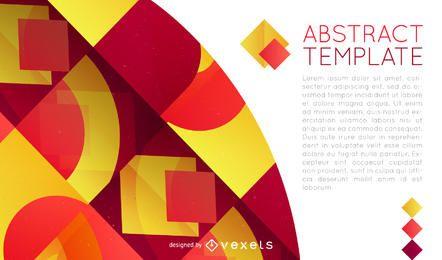 Diseño de póster con formas geométricas rojas y amarillas