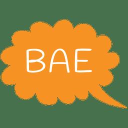 Bolha de discurso dos desenhos animados bae slang