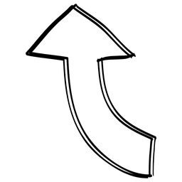 Cartoon curve right direction arrow