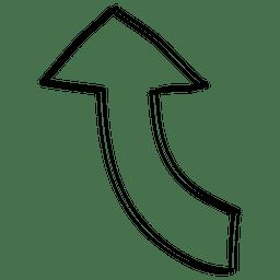 Seta de direção certa curva dos desenhos animados