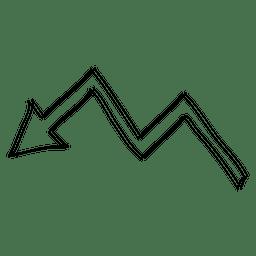 Cartoon gefaltete Richtungspfeilrichtung