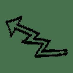 Dibujos animados pliegues flecha superior izquierda