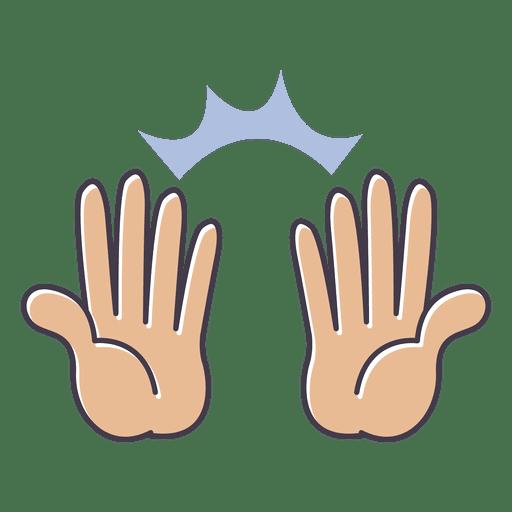 Mostrar manos gesto de alabanza