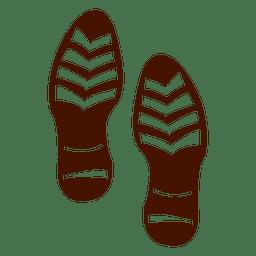 Silueta de huellas de zapatos humanos.