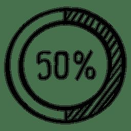 Carta de doodle infográfico de 50 por cento