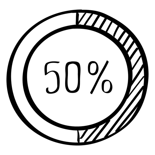 Gráfico de doodle de 50 por ciento de infografía Transparent PNG