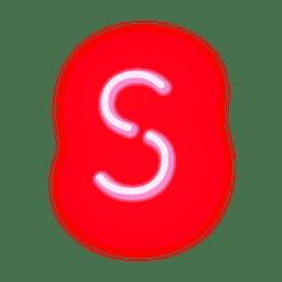Membrete de neón rojo alfabeto s
