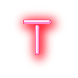 Letterhead red neon alphabet t