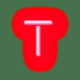 Membrete de neón rojo alfabeto t