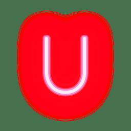 Letterhead red neon alphabet u