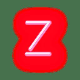 Membrete de neón rojo alfabeto z