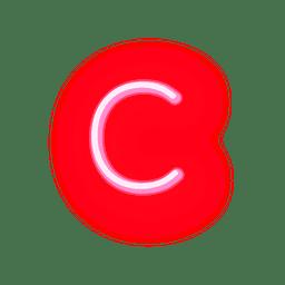 Fonte de néon vermelha timbrado c